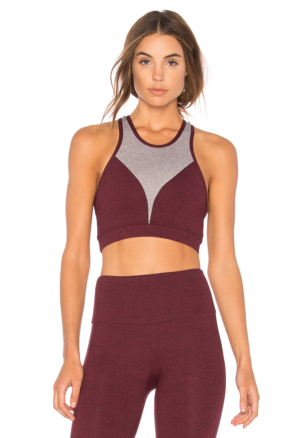onzie High Neck Sports Bra in Burgundy Combo