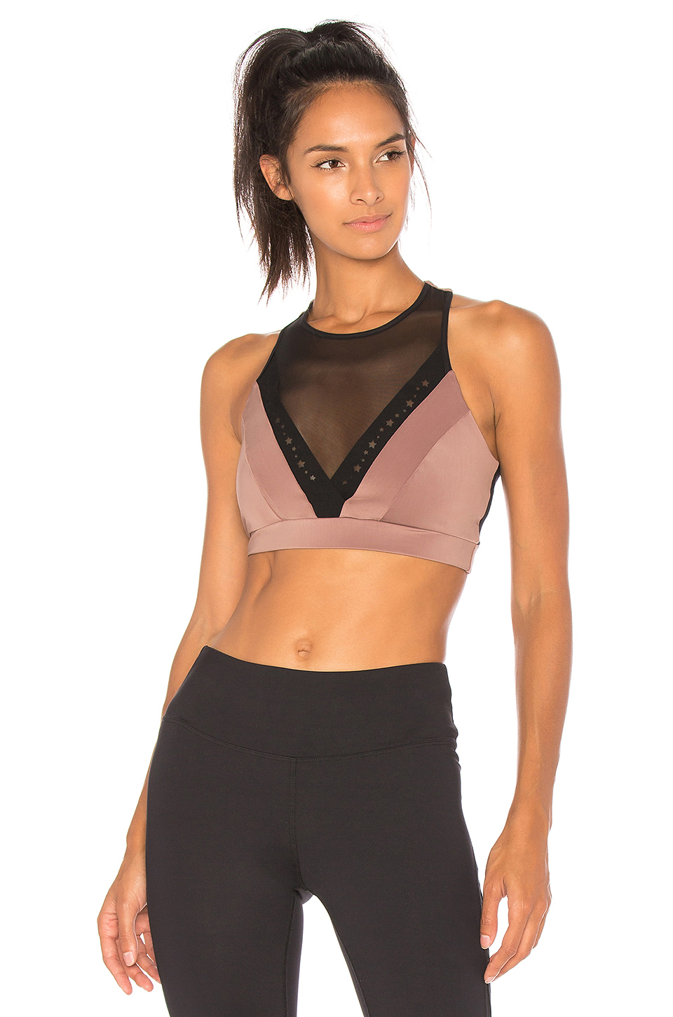 Track & Bliss Astral Sports Bra in Black & Coco