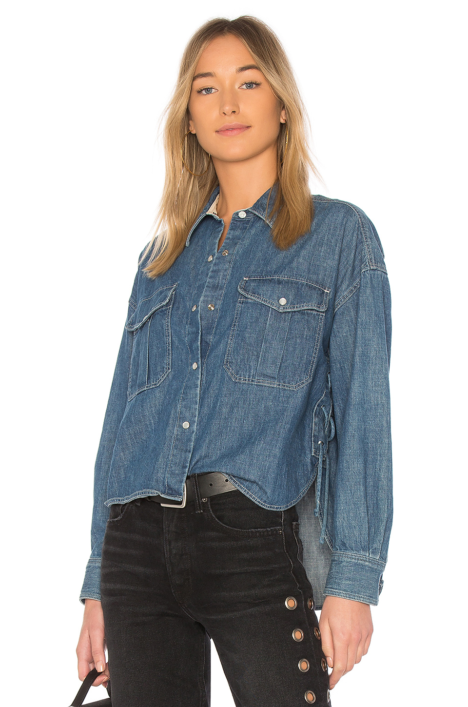 Rag & Bone Cropped Mason Shirt in Indigo
