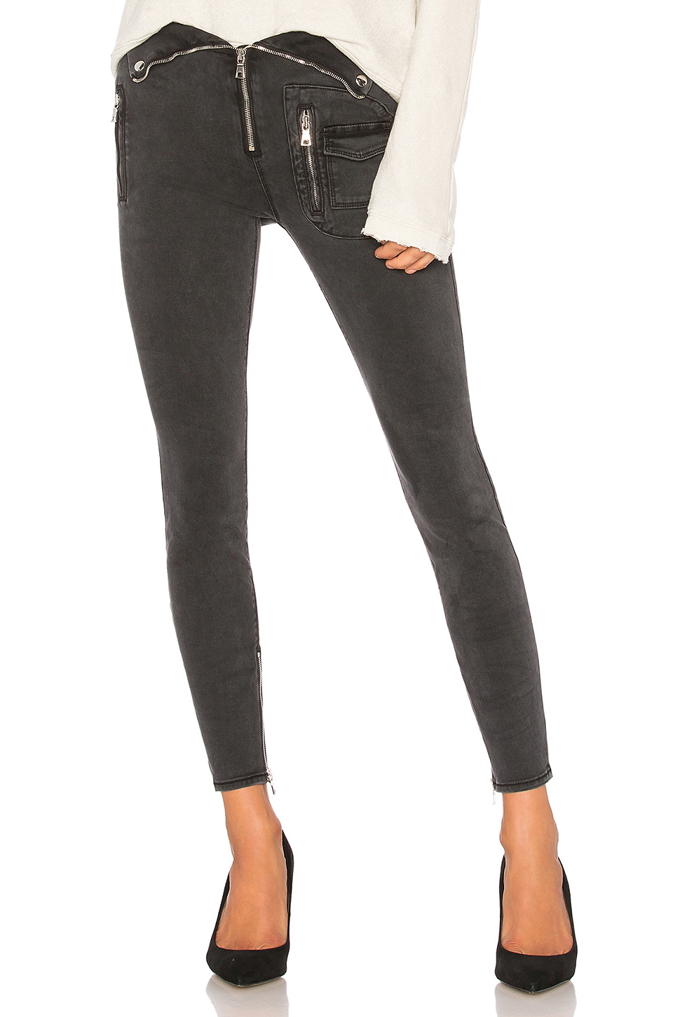RtA Diavolina Skinny Jeans in Washed Grey
