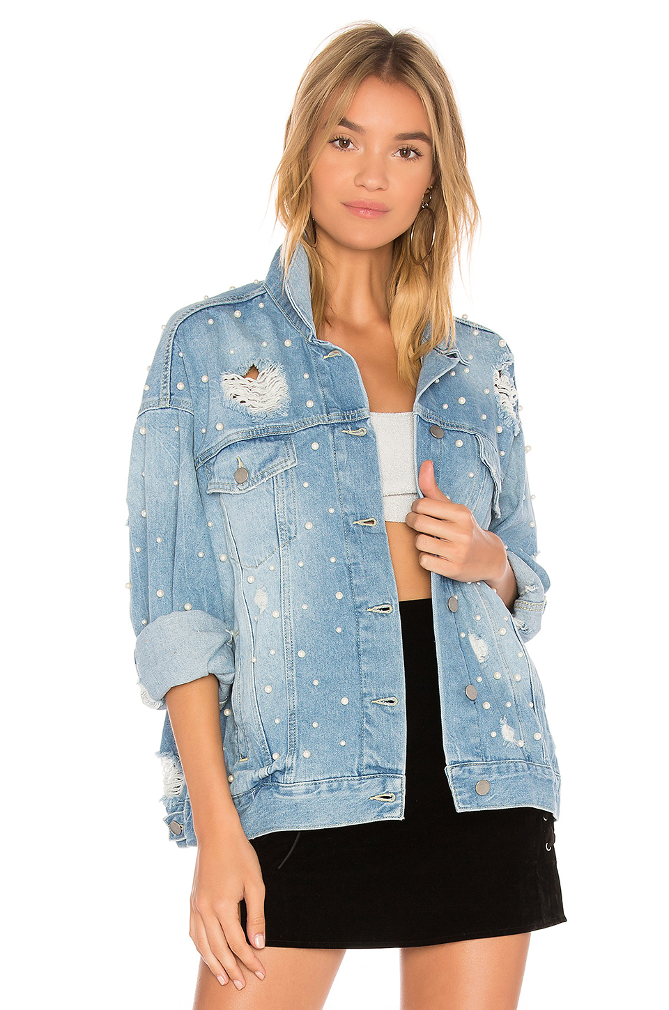 Free People Sunday Funday Trucker Jacket in Indigo Blue