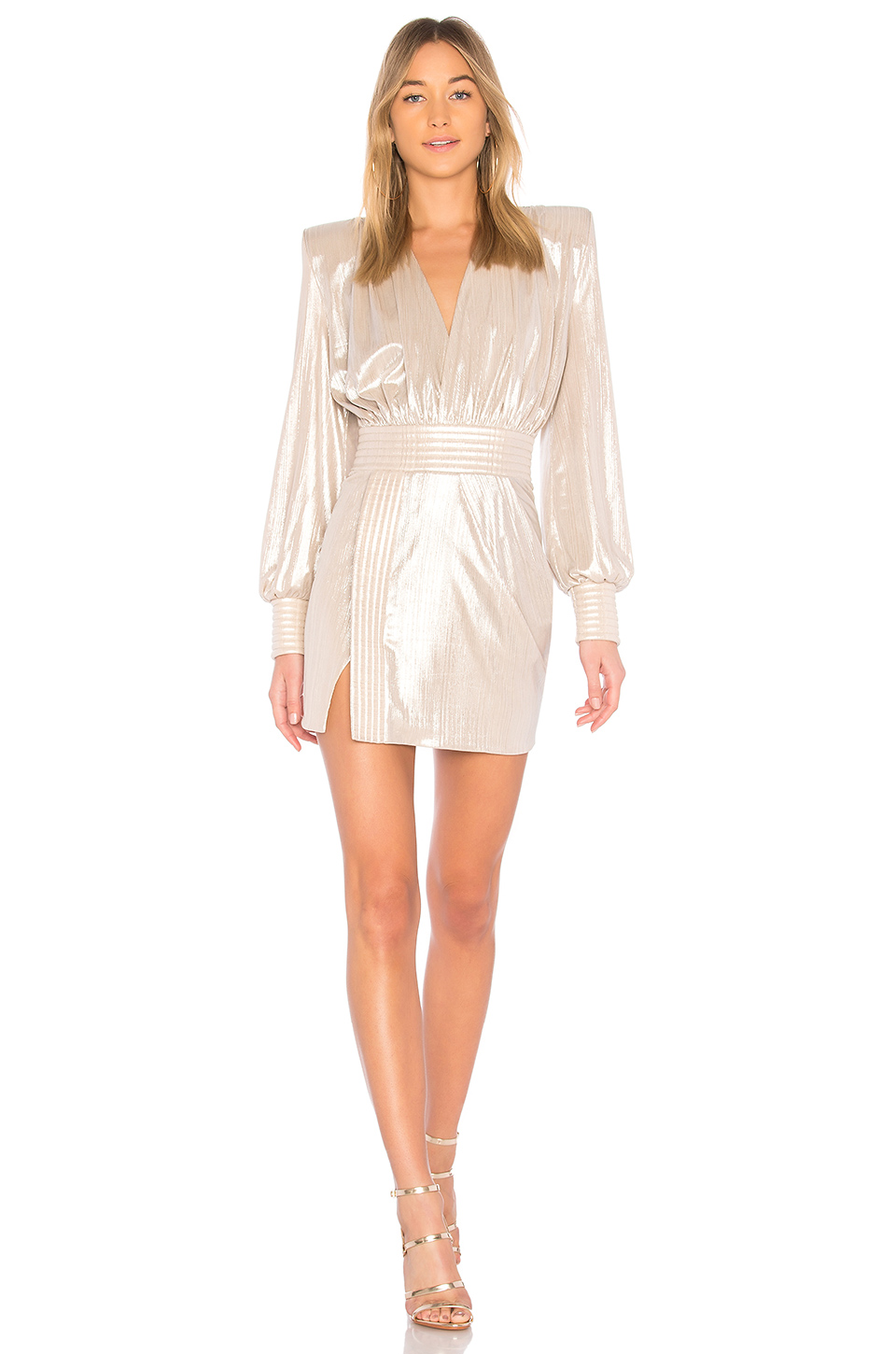 Zhivago Ready Metallic Mini Dress in Pearl