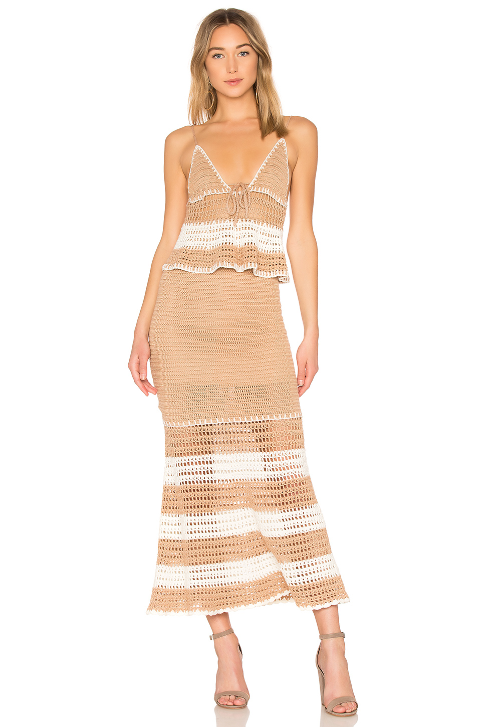 X by NBD Calypso Dress in Almond & White