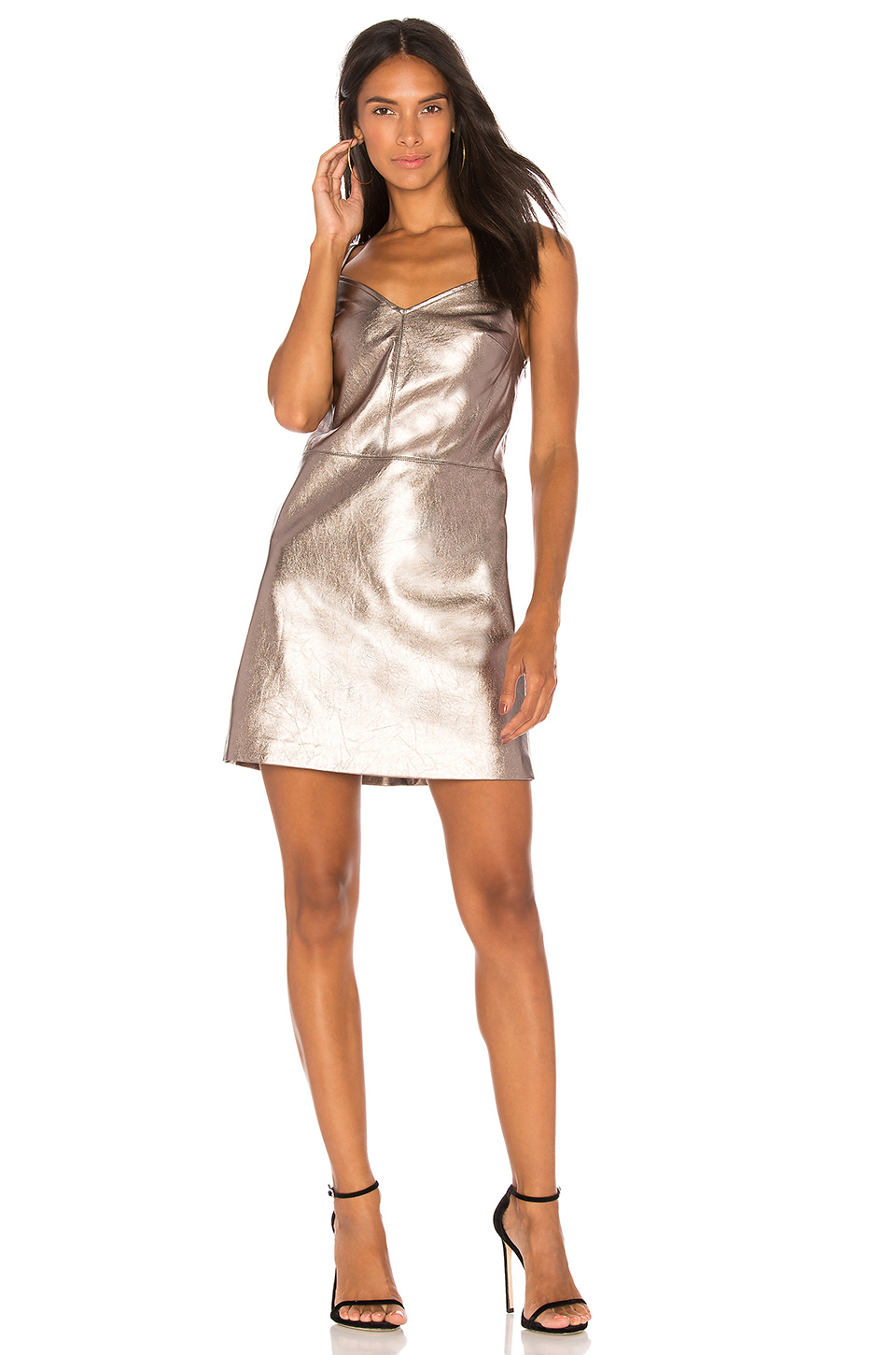 1. STATE Spaghetti Strap Slip Dress in Metallic