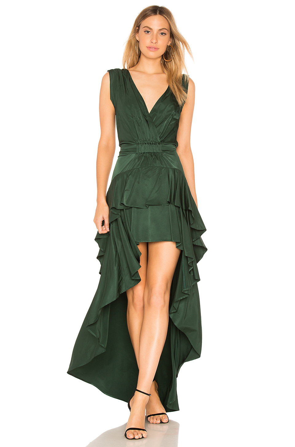 aijek Madelyn Drape Maxi Dress in Emerald