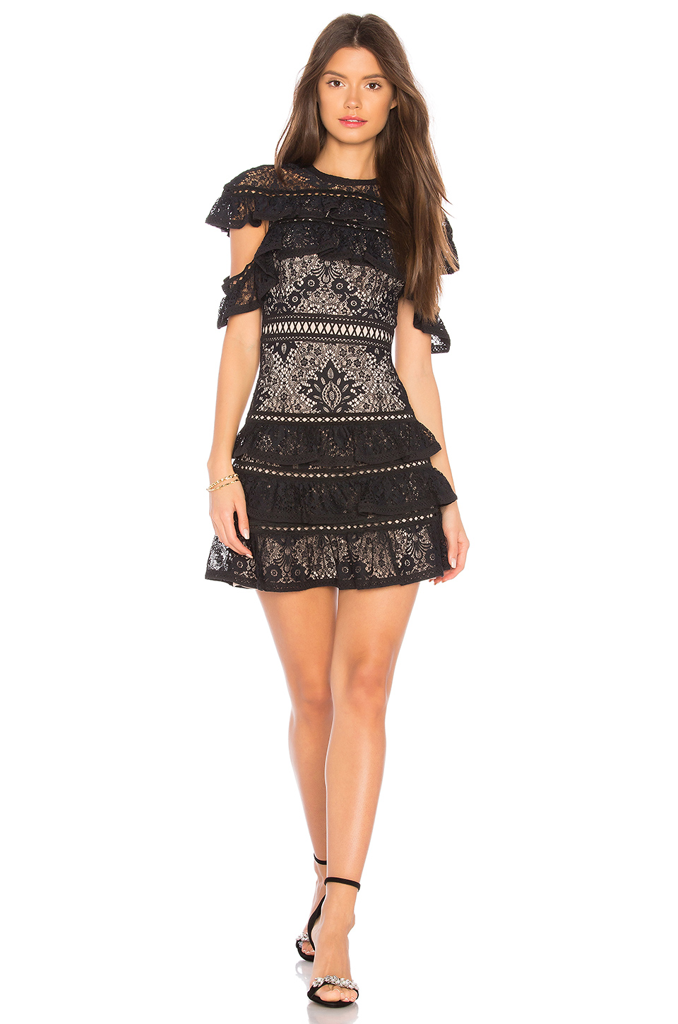 Alice + Olivia Jolie Dress in Black & Nude