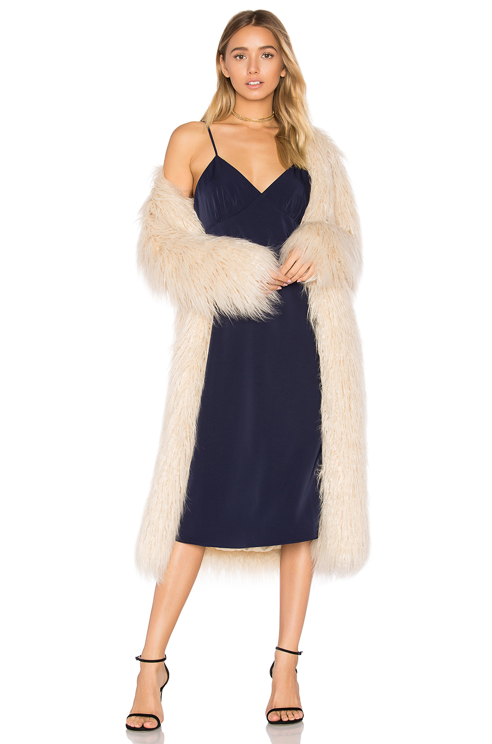 House of Harlow 1960 x Marisa Faux Fur Coat in Ivory