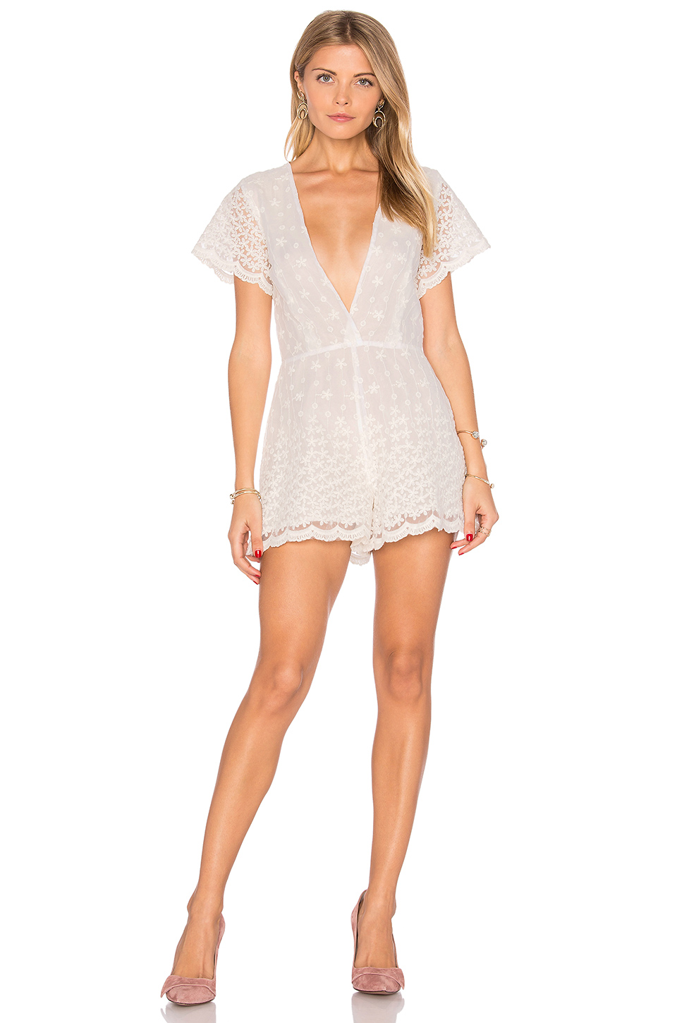 Lurelly Embroidered Flower Romper in Off White