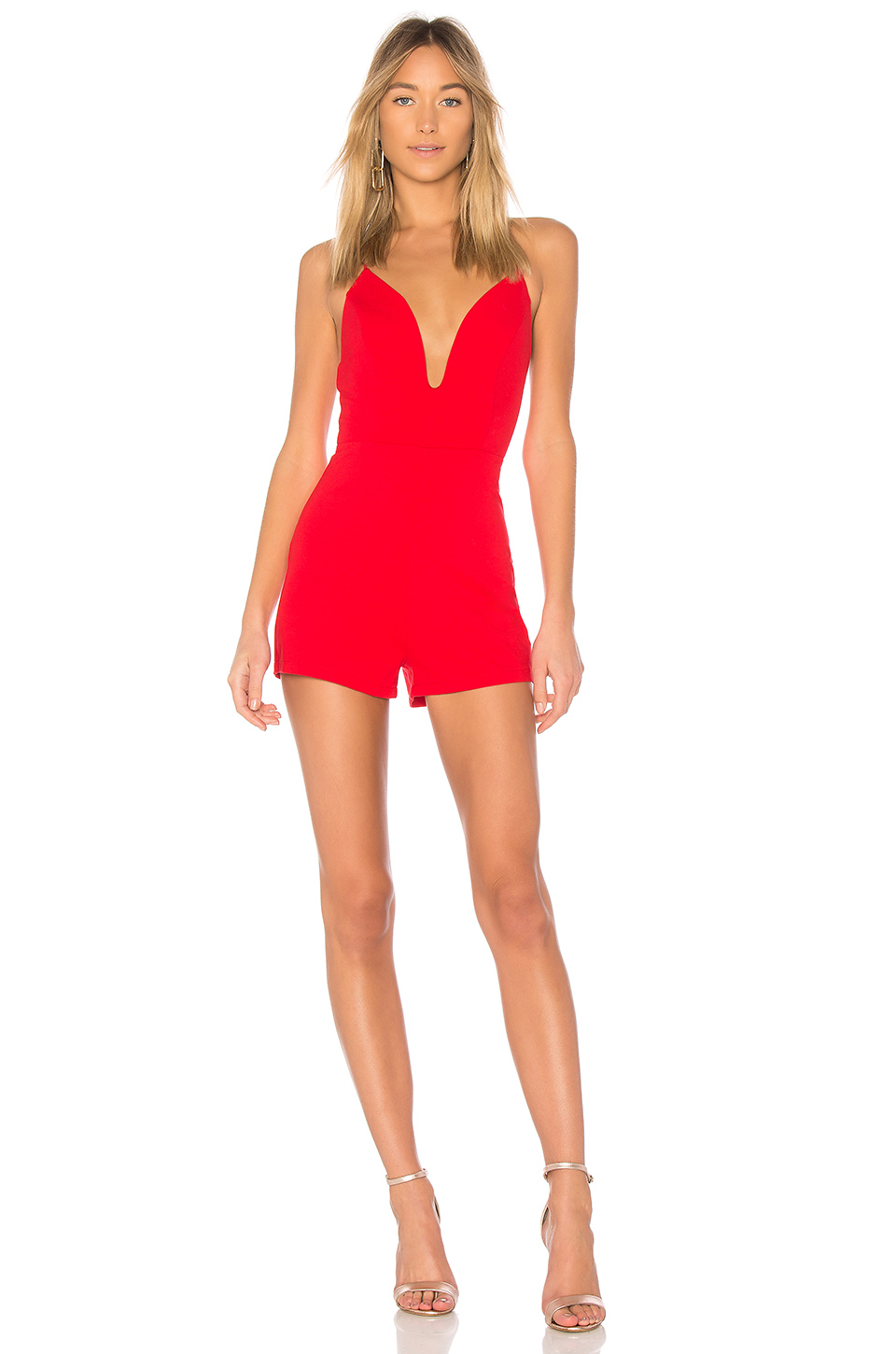 by the way. Peyton Strappy Back Romper in Red