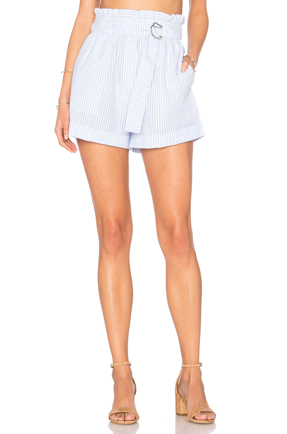 MINKPINK Striped D Ring Paperbag Shorts in Light Blue & White