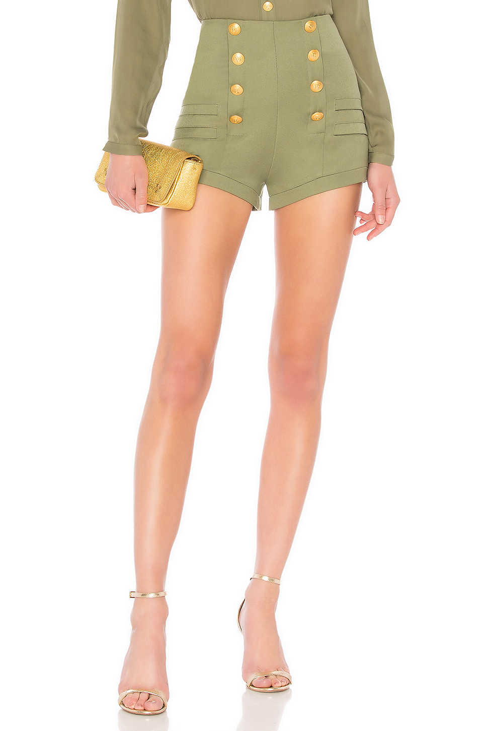Pierre Balmain High Waist Military Short in Kaki