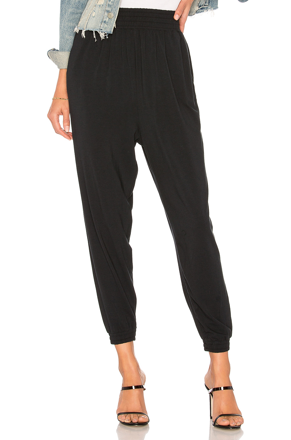 Bobi Draped Modal Jersey Jogger in Black