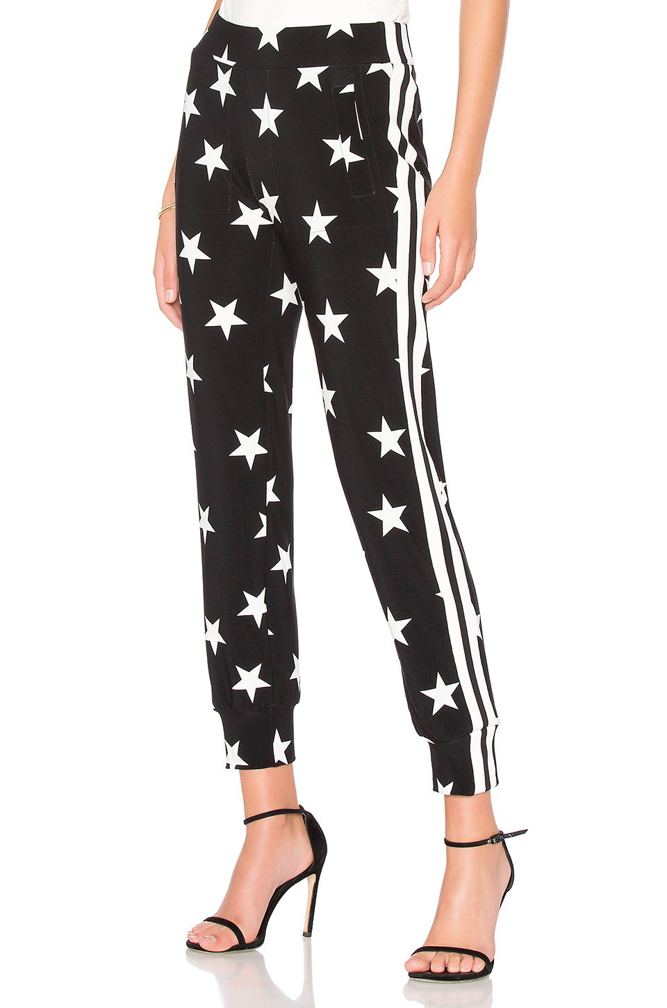 Norma Kamali Side Stripe Jog Pant in Star