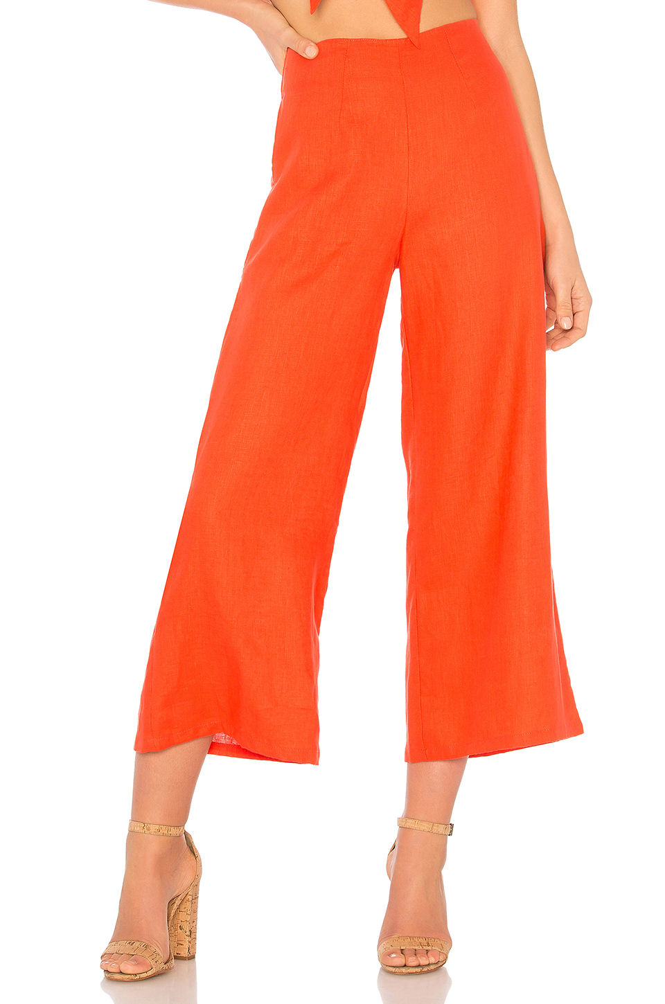 FAITHFULL THE BRAND Tomas Pants in Plain Tangerine