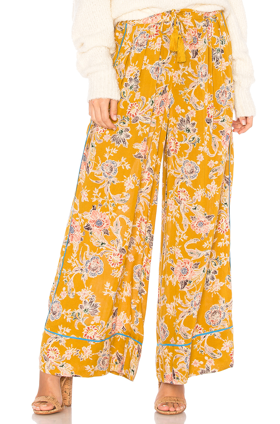 Free People Bali Wildflower Pant in Gold
