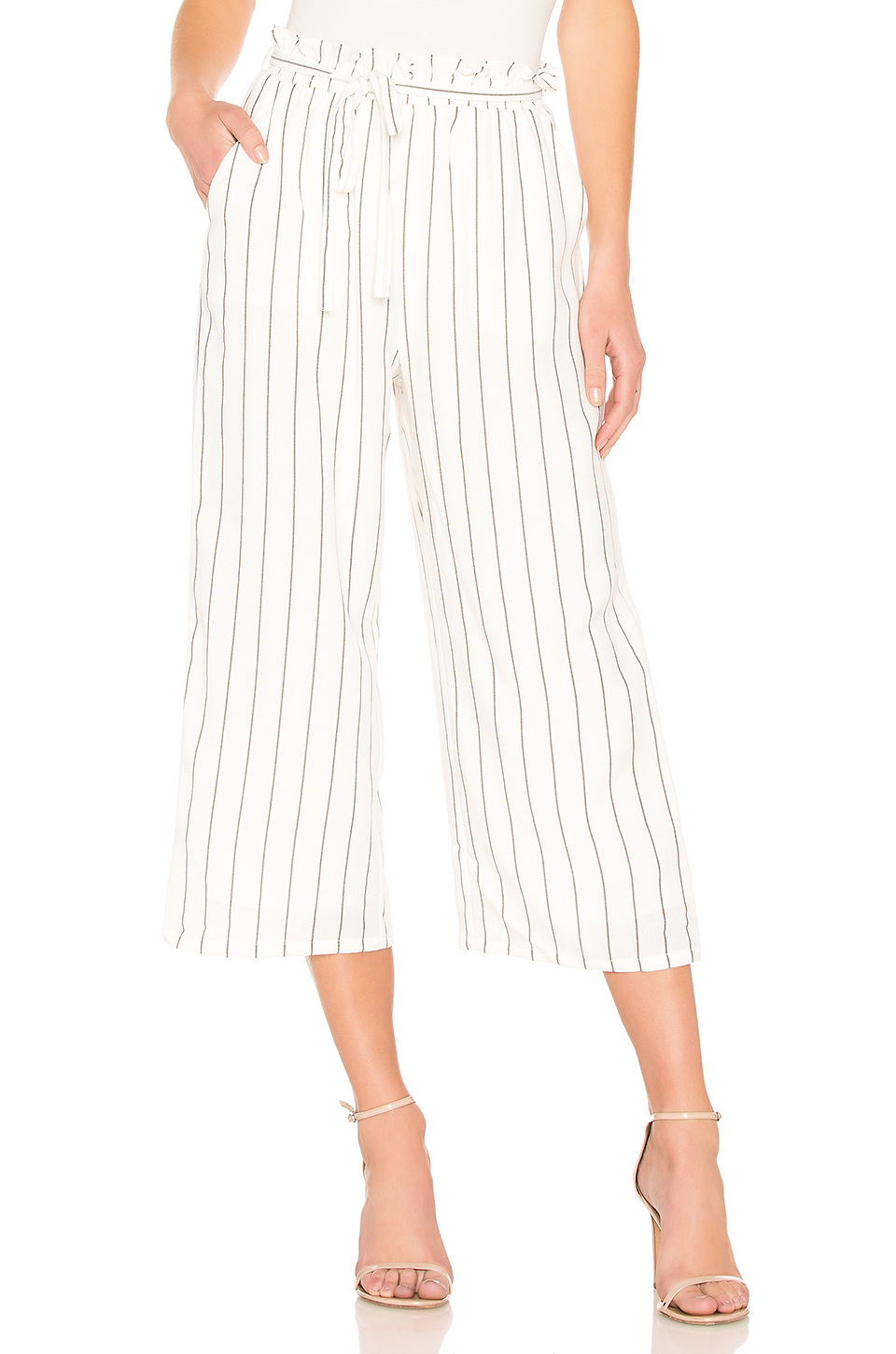 MINKPINK Pin Stripe Pant in Off White & Black