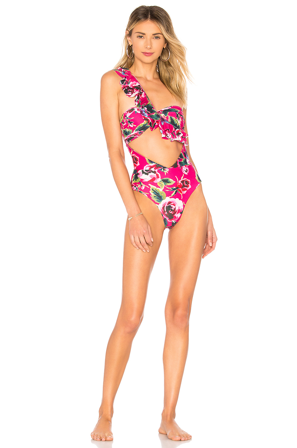 Lovers + Friends Salty Kiss One Piece in Magenta Floral