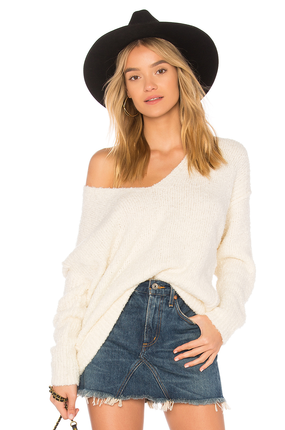 Free People Lofty V-Neck Pullover Sweater in Ivory