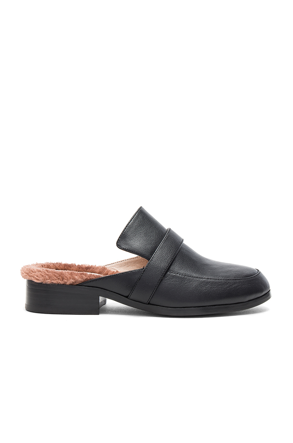 RAYE Kala Faux Fur Mule in Black Leather