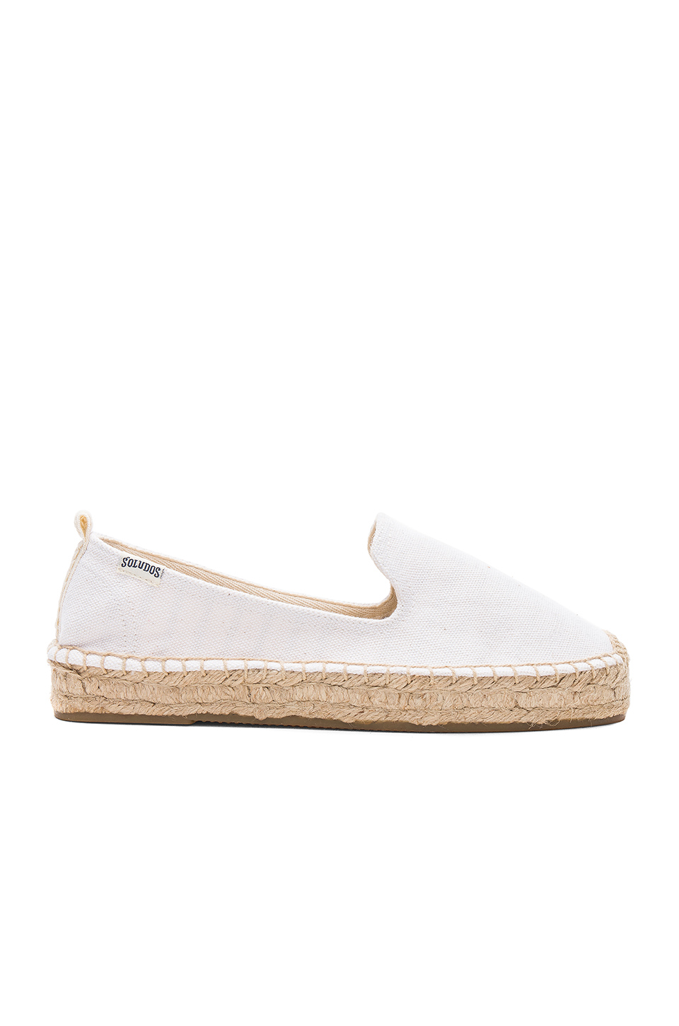Soludos Platform Smoking Slipper in White