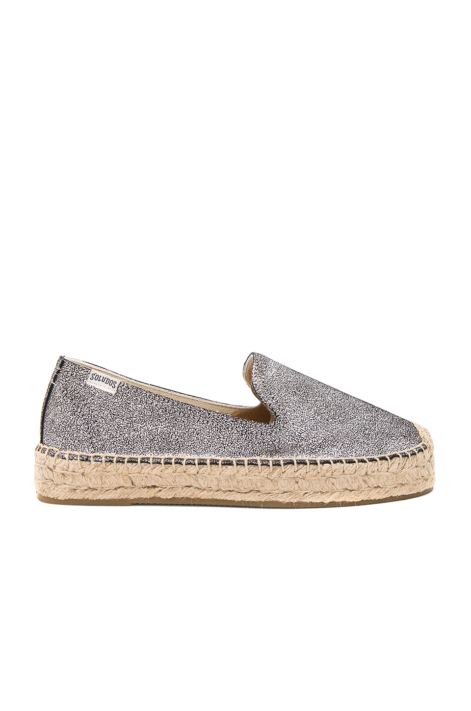 Soludos Metallic Smoking Slipper in Silver