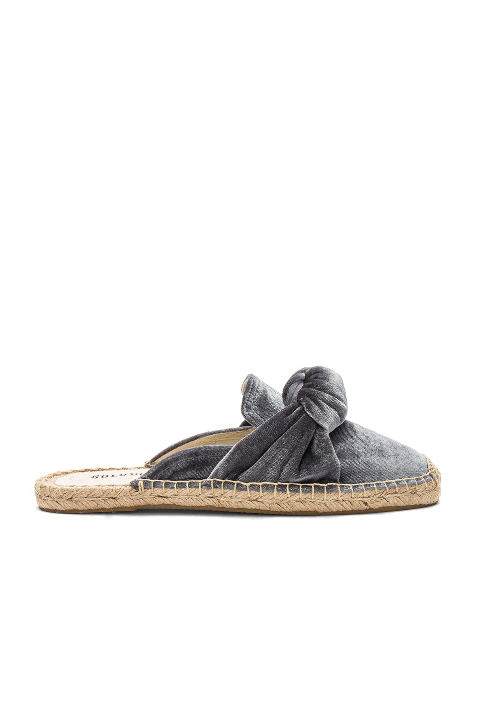 Soludos Knotted Velvet Mules in Gray