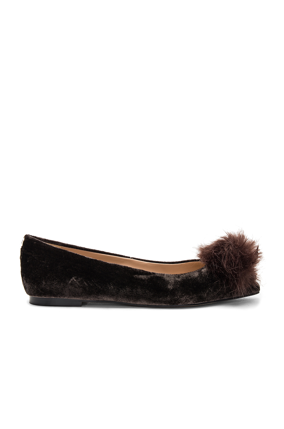 Sam Edelman Raddie Faux Fur Flat in Steel Grey Velvet