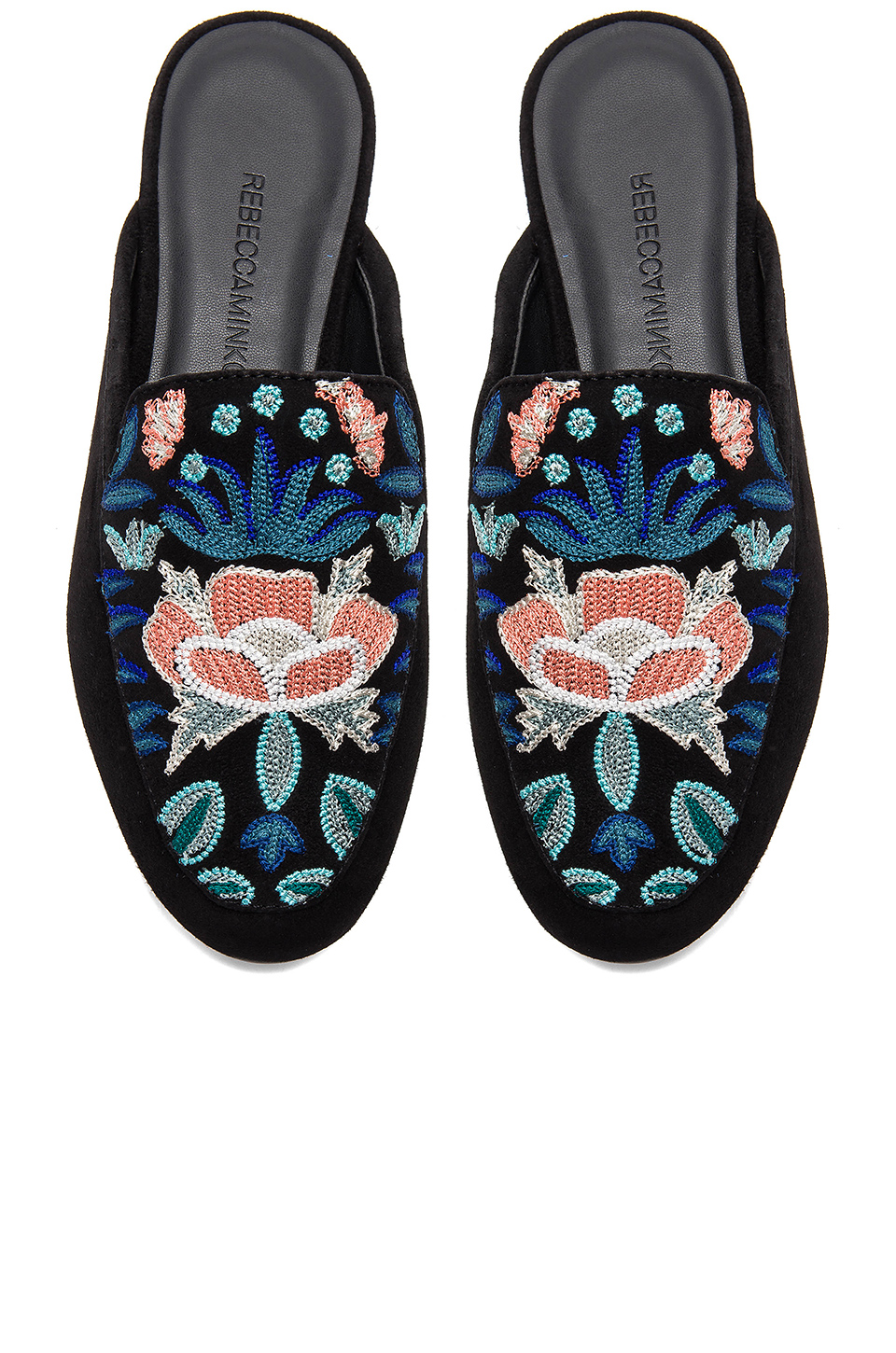 Rebecca Minkoff Raylee Slide in Floral Embroidery & Black Suede