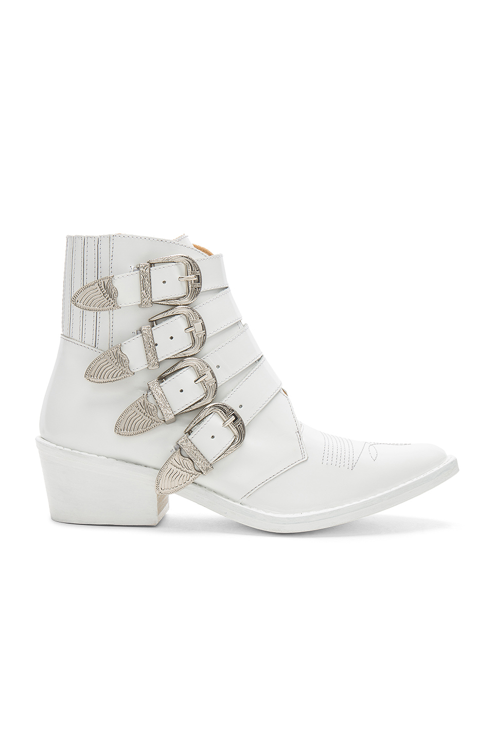 TOGA PULLA Western Buckle Bootie in White Polido