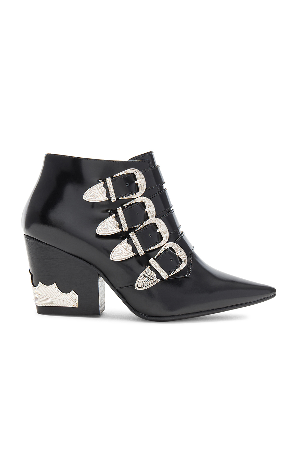 TOGA PULLA Buckle Heeled Bootie in Black Polido