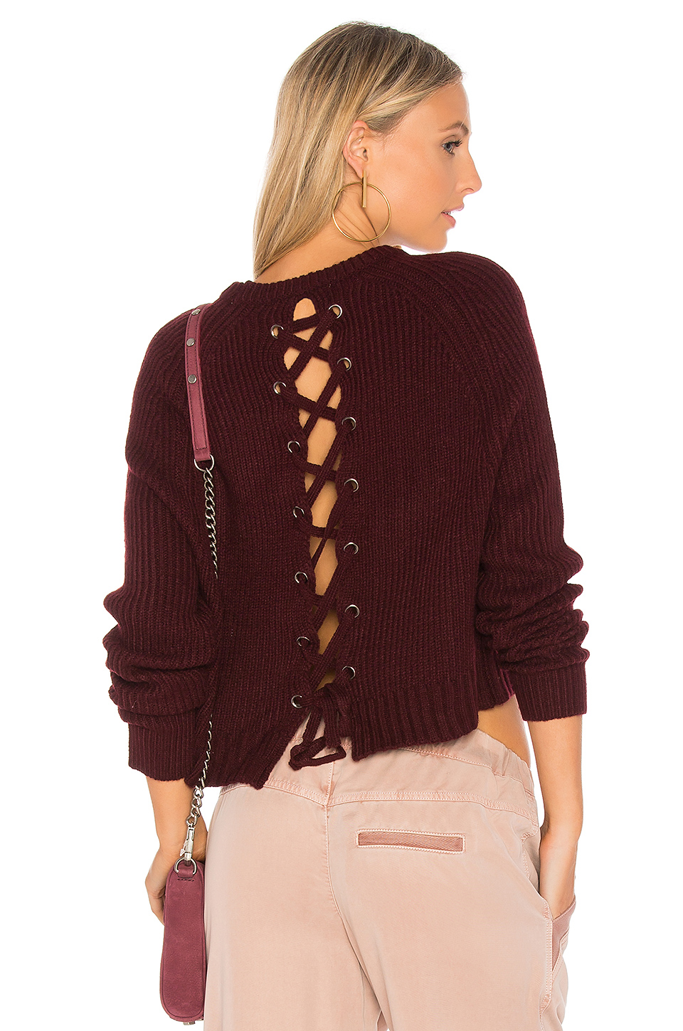 John & Jenn by Line Aisha Lace Up Back Sweater in Potion