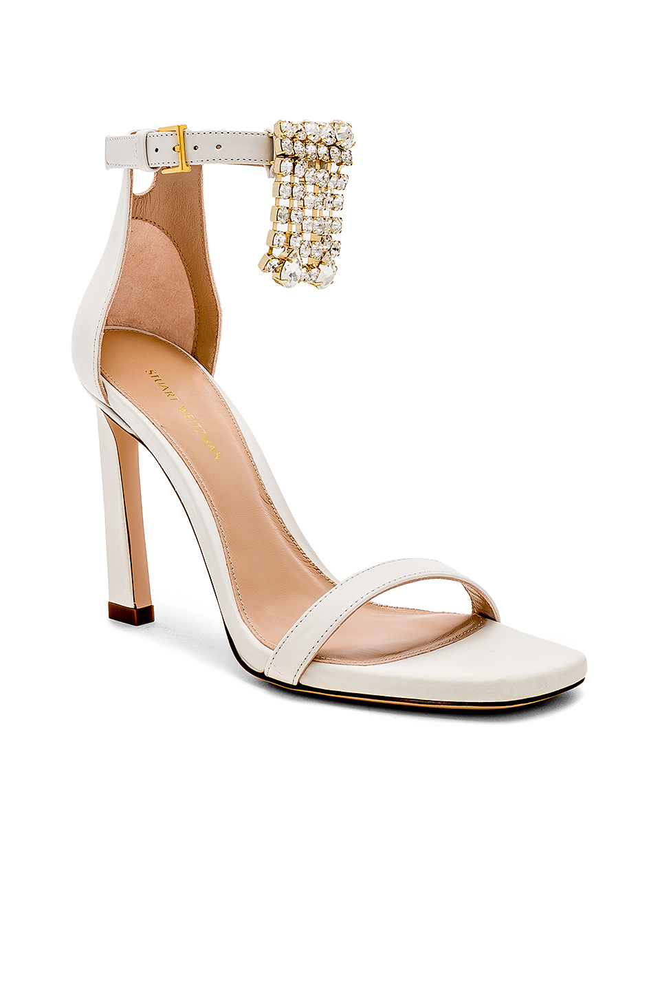 Stuart Weitzman Fringe Square Nudist Heel in Off White Cush Nappa