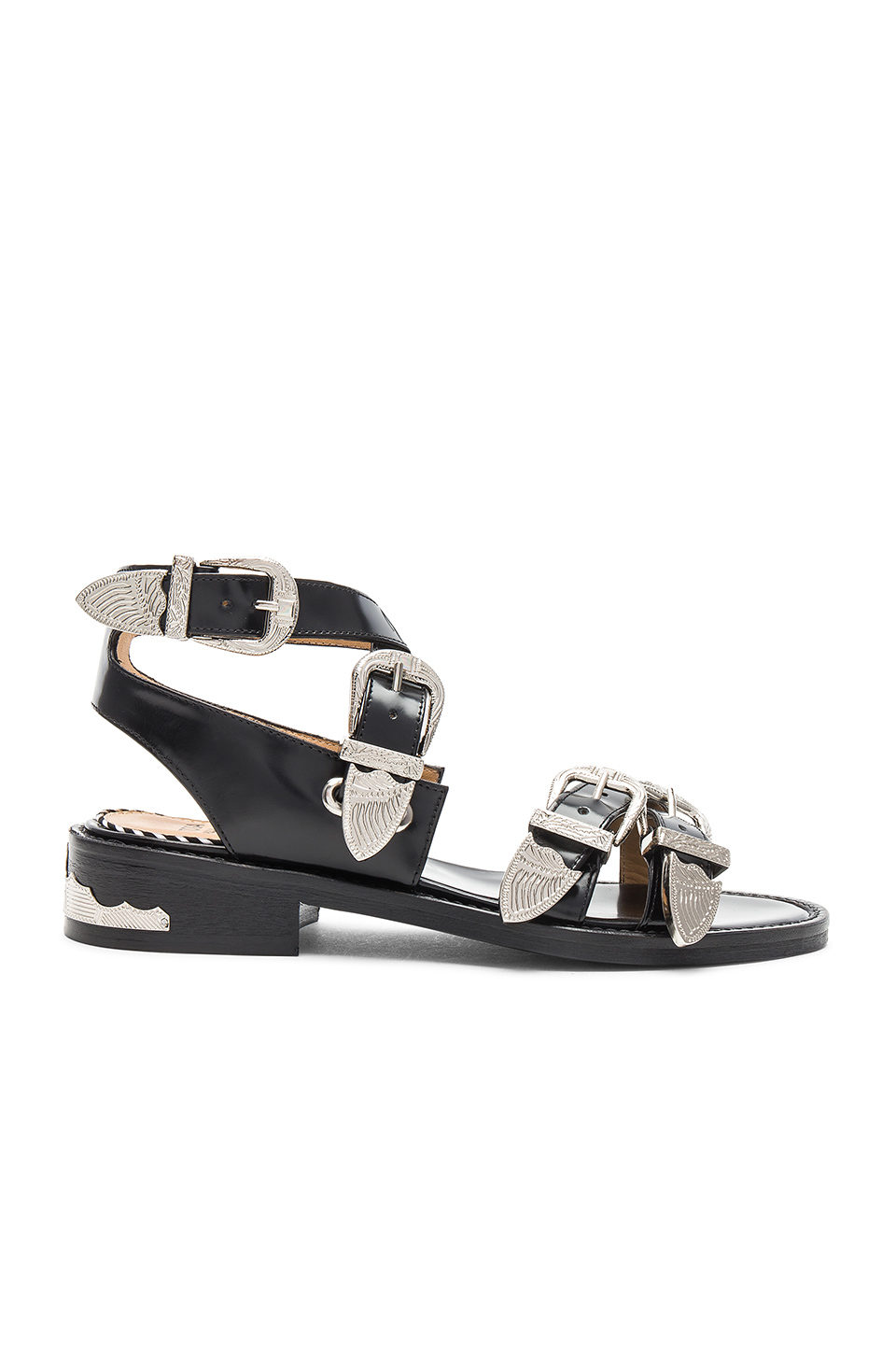 TOGA PULLA Buckle Sandal in Black Polido