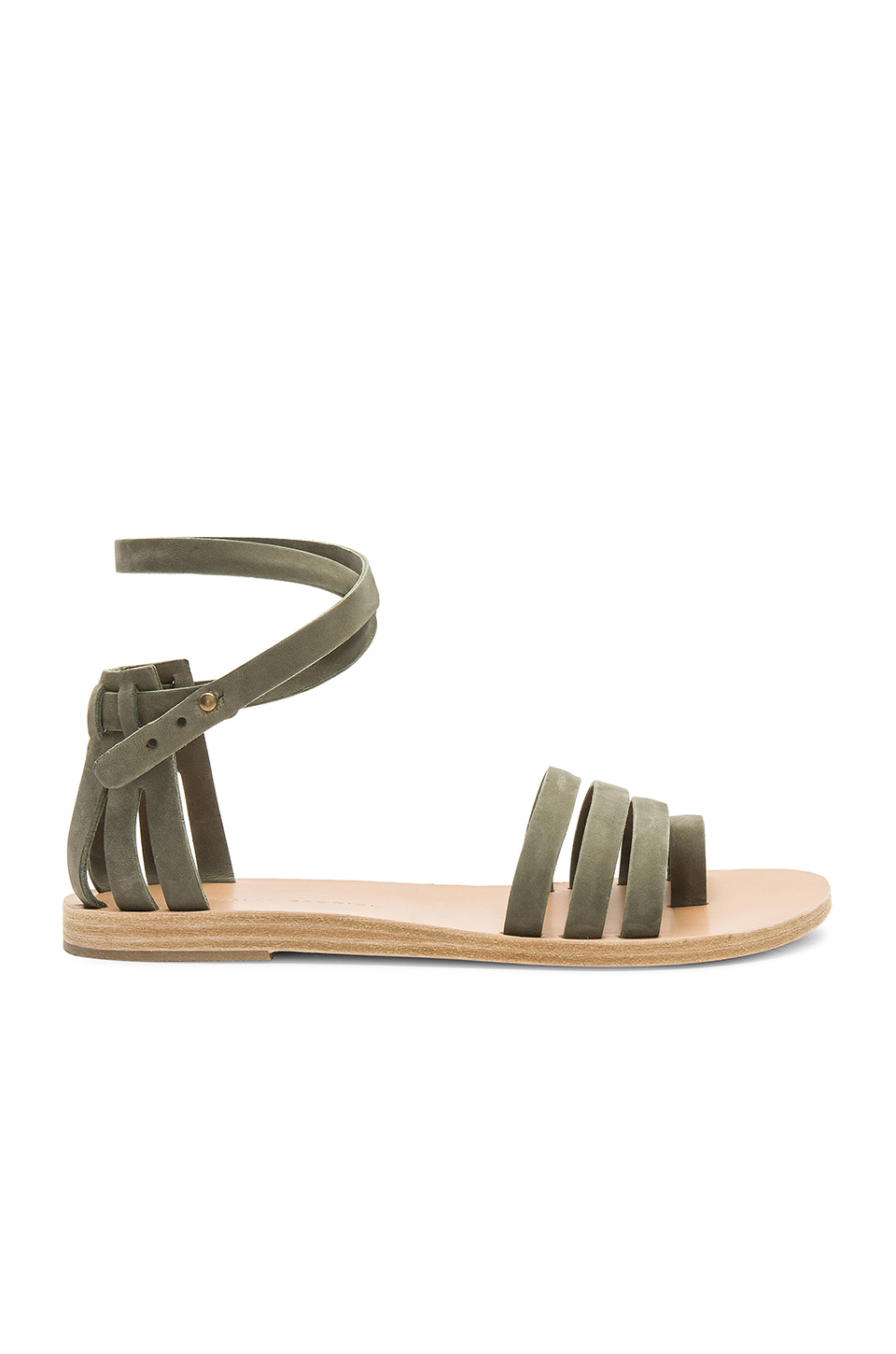 Valia Gabriel Meadow Sandal in Military Green Nubuck