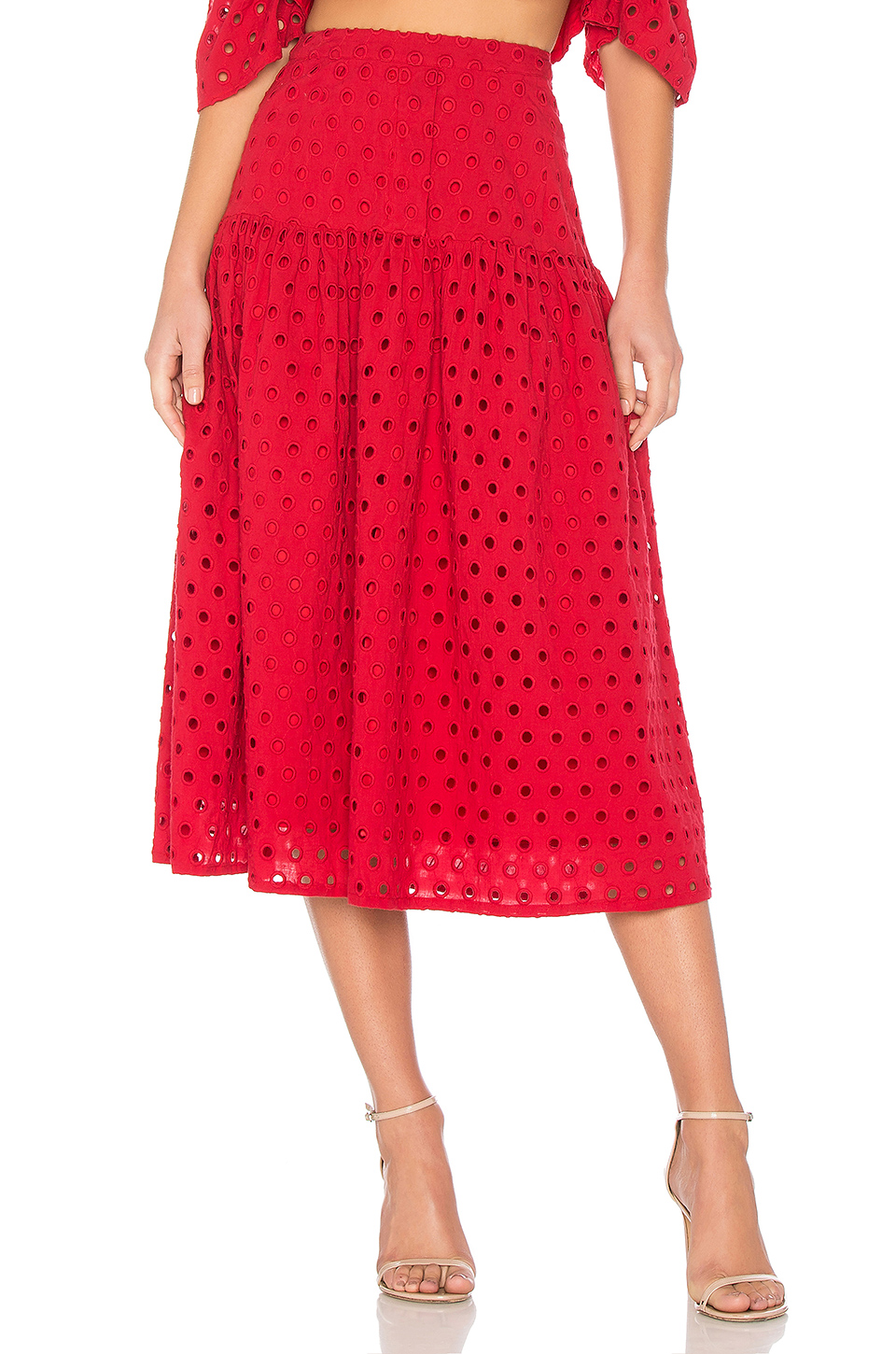 Paper London Plage Fiesta Skirt in Red