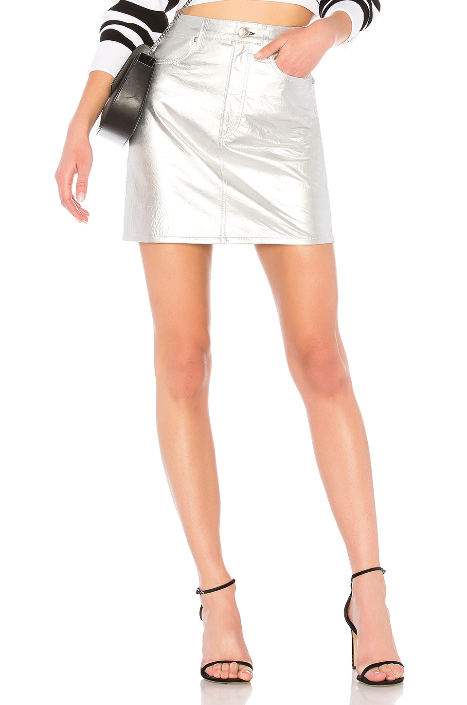 rag & bone/JEAN Moss Leather Skirt in Metallic