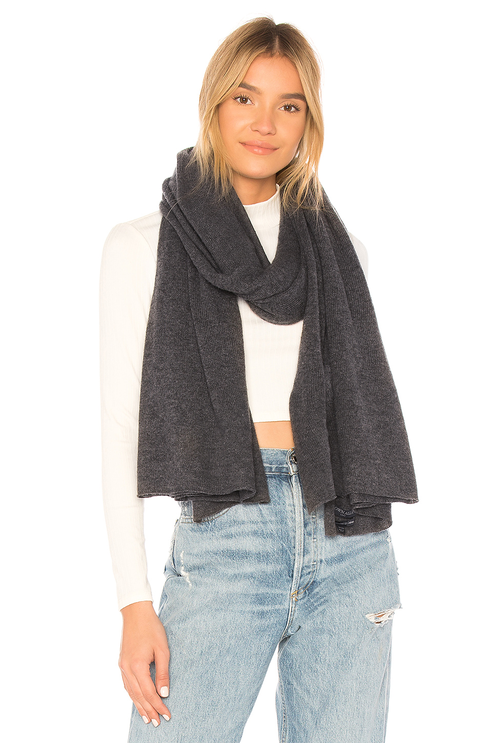 BROWN ALLAN The Jersey Travel Wrap Scarf in Smoke Pearl