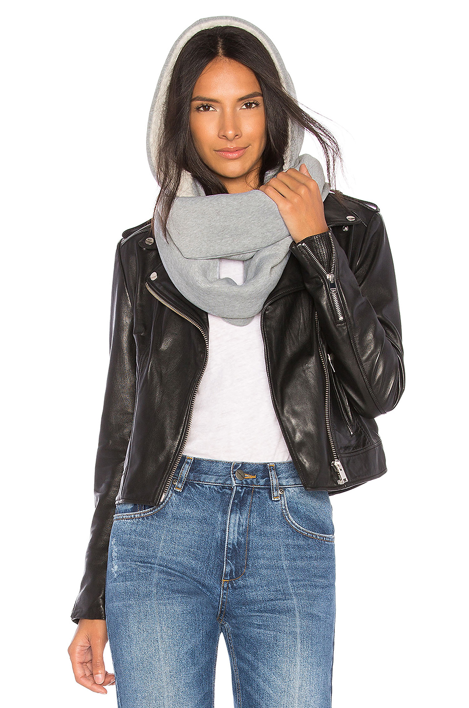 Michael Stars Sherpa Hood Scarf in Galvanized