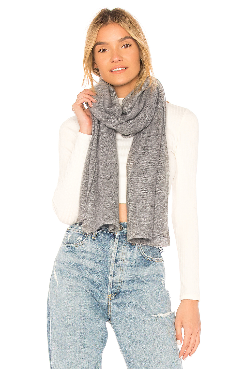 Autumn Cashmere Featherweight Wrap Scarf in Cement