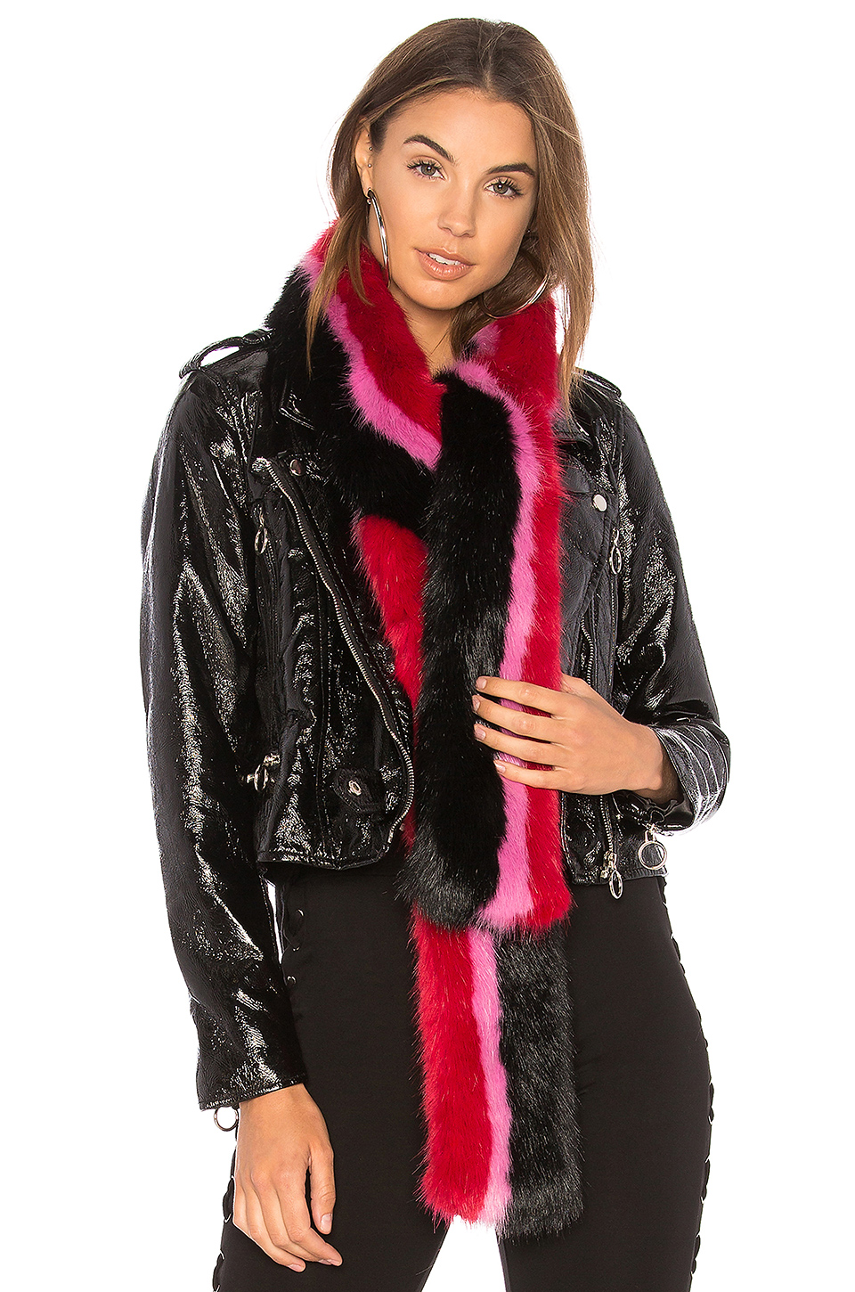 Charlotte Simone Faux Fur Snugglez in Black & Red & Hot Pink