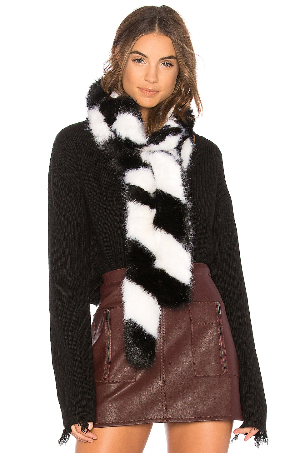 Charlotte Simone Faux Fur Lacey in Black & White