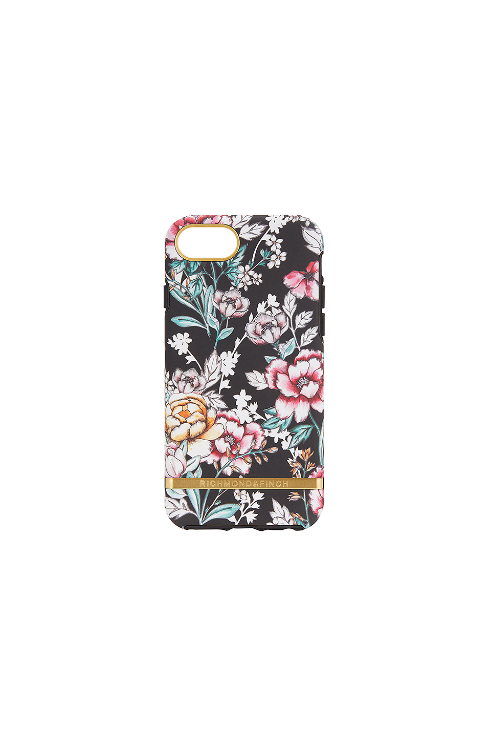 Richmond & Finch Black Floral iPhone 6/7/8 Case in Gold Details