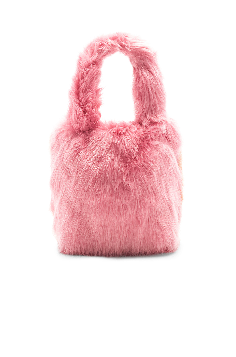 Charlotte Simone Pop Faux Fur Tote in Pastel Pink & Apricot