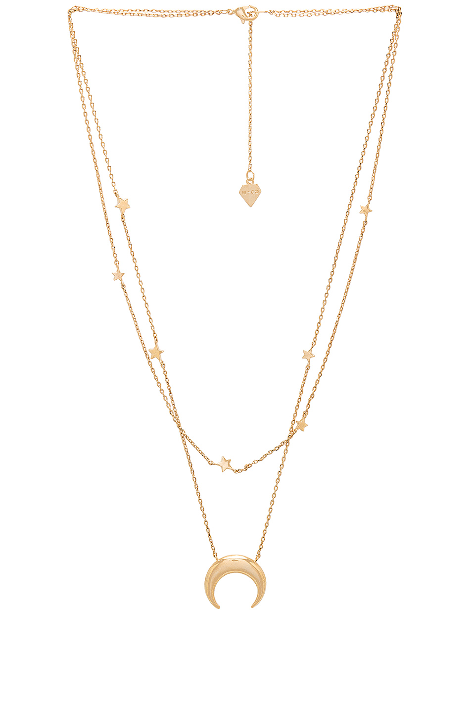 Wanderlust + Co Crescent & Constellation Necklace in Gold
