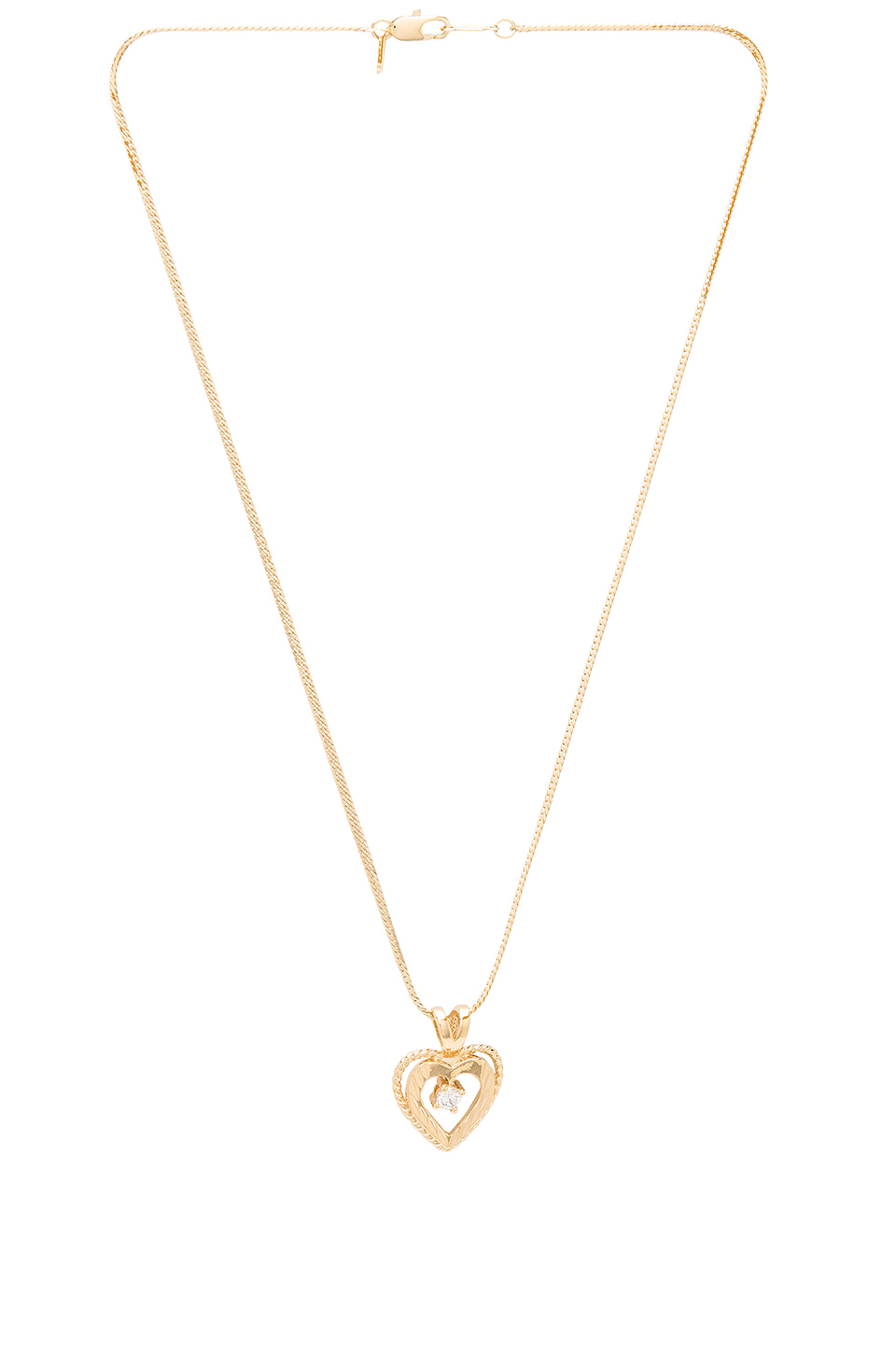Vanessa Mooney Nora Heart & Crystal Charm Necklace in Gold