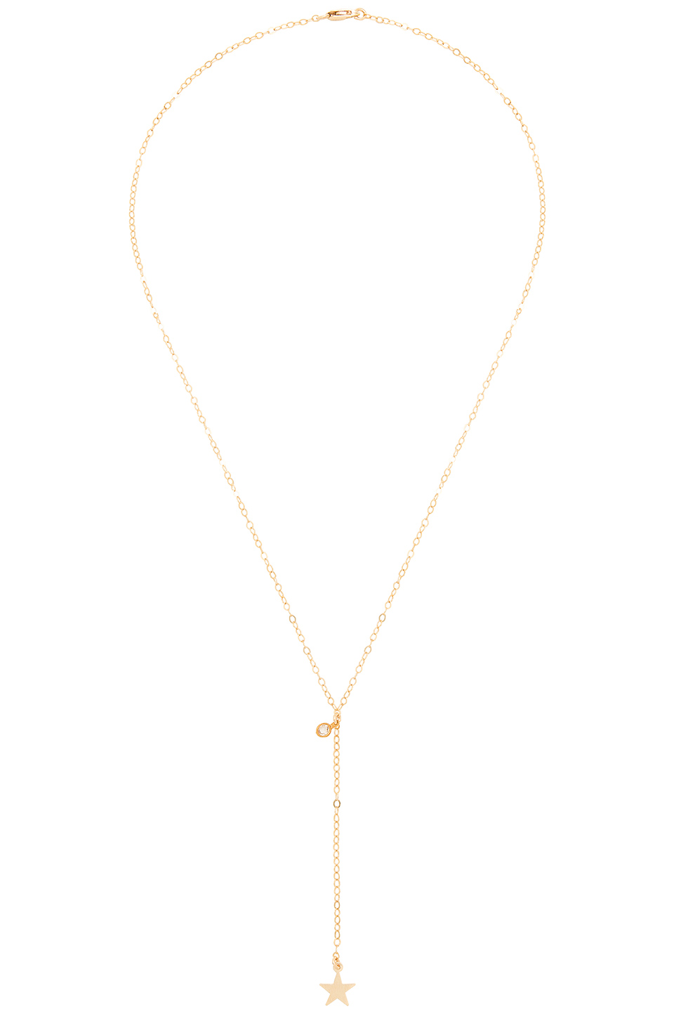 Amarilo Feather Lariat Necklace in Gold