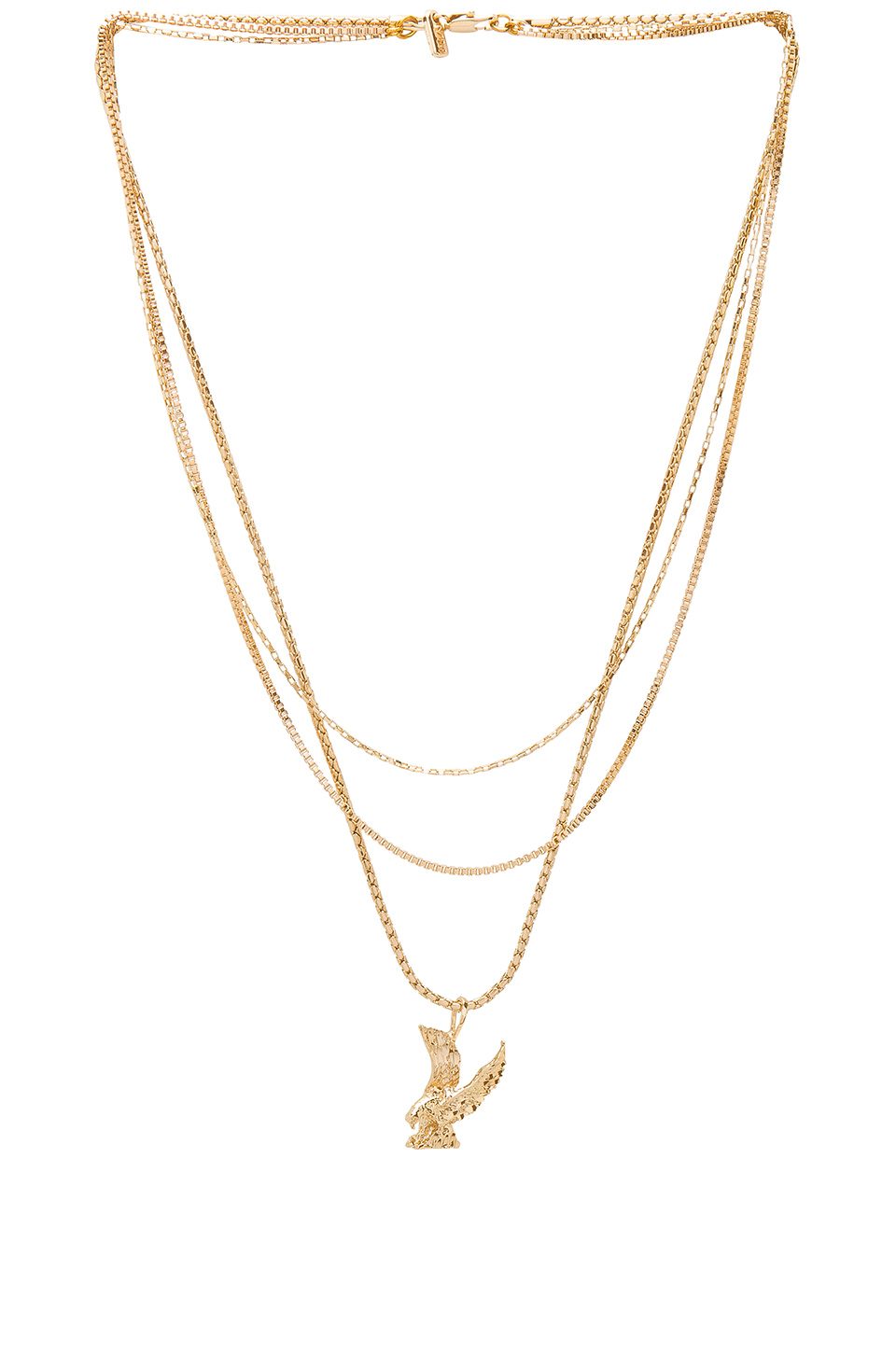 Vanessa Mooney Lopes Eagle Triple Chain Necklace in Gold