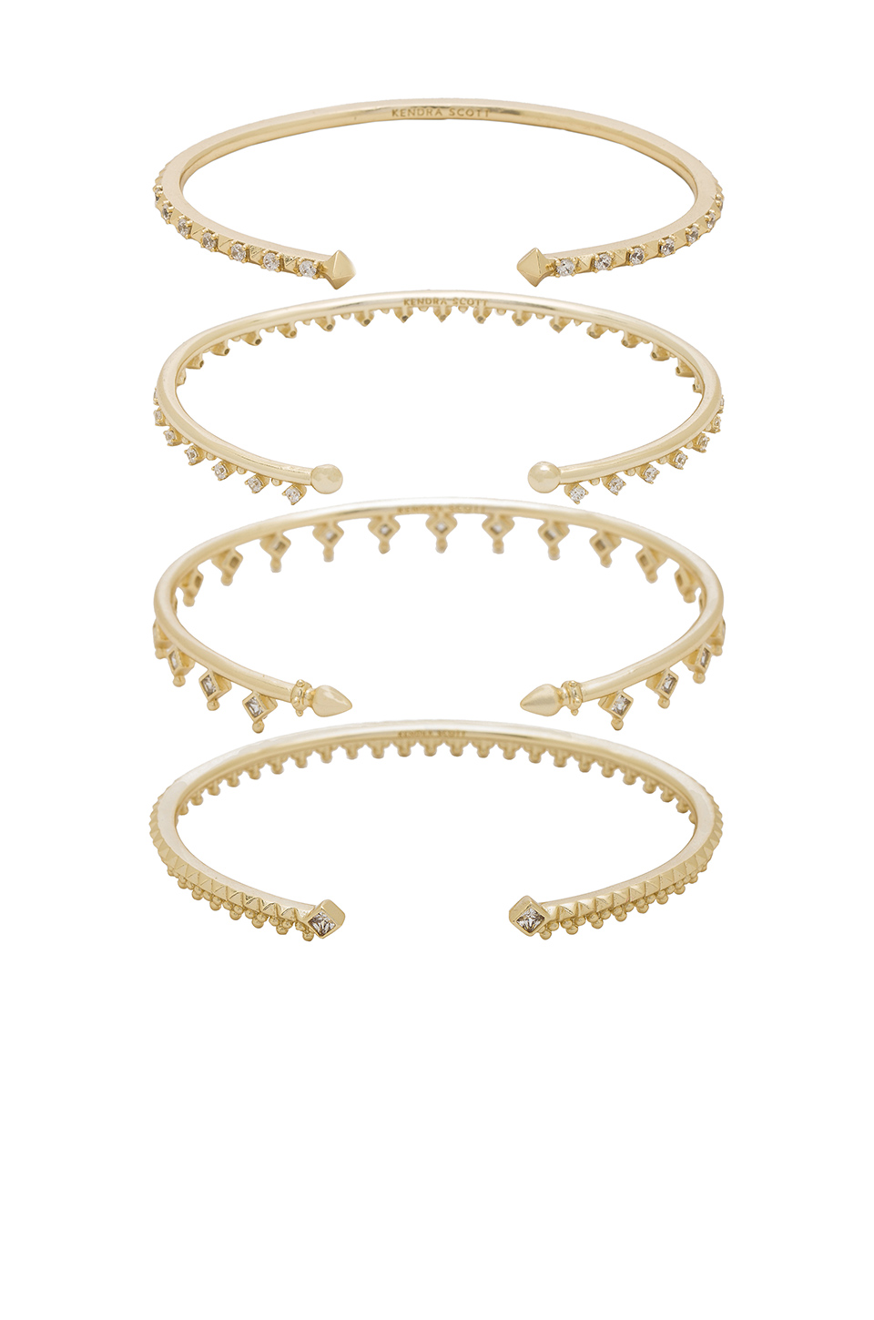 Kendra Scott Delphine Pinch Bracelet Set of 4 in Gold with White Cubic Zirconia