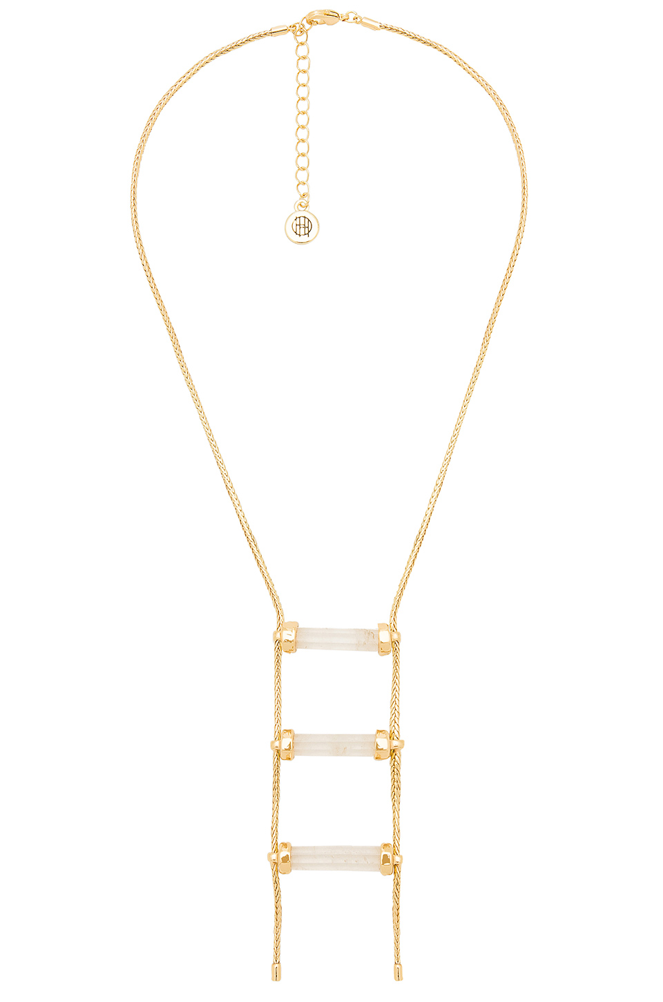 House of Harlow 1960 Triple Crystal Necklace in Gold & Clear