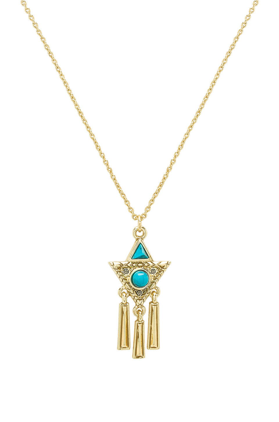 House of Harlow 1960 X Durango Triangle Necklace in Gold & Turquoise
